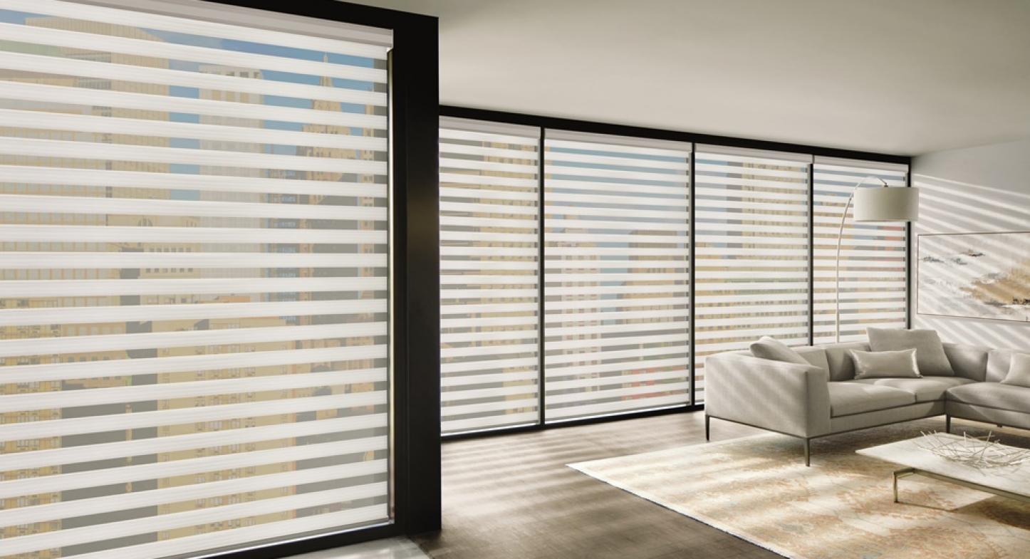 Cortina Twinline: faixas de tecido intercaladas para inovar os ambientes